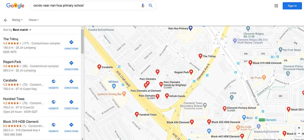 use google to check condos near nan hua
